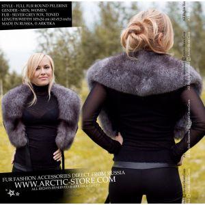 Women's fox collar - silver fur pelerine - arctic-store