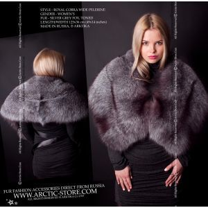 Silver grey fox pelerine - wide blue frost fur cape - arctic-store