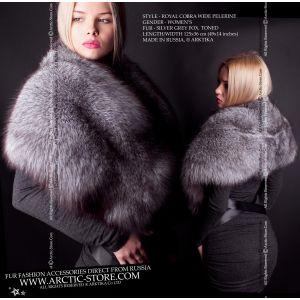 Russian fox wrap - Silver grey fur cape - arctic-store