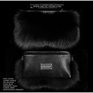 black fox purse - black fur clutch