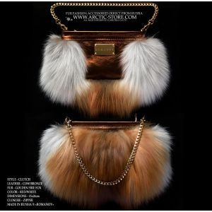 red fur purse - gold fox clutch - fox fur bag