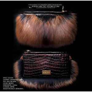 romanov fur clutch - l'or noir fox reptile leather purse