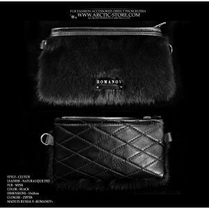 black mink clutch - black fur purse