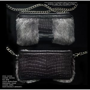 blueberry mink clutch - deep purple fur purse