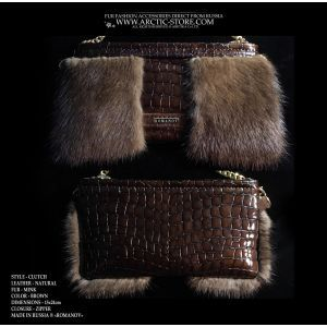 brown mink clutch - brown fur purse