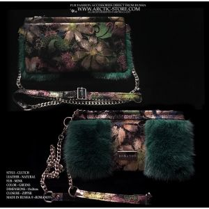 green evening bag - emerald fur purse
