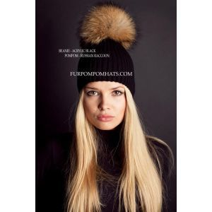 Raccoon fur bobble beanie - Brown pompom hat - furpompomhats