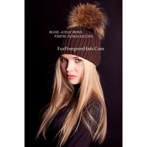 Beanie brown raccoon bobble - Raccoon fur pompom hat - furpompomhats