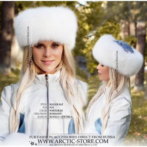 white fox fur set pavlovo posad - shadow fox hand-muff and hat