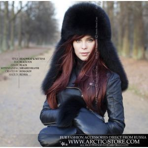 Black fox headband - winter women's band