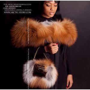 fox fur bag - fox fur collar