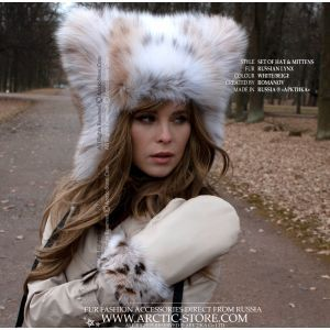 original lynx fur hat and mittens lined with beaver
