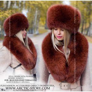 terracota fox hat and collar - brown fox chapka and pelerine - arctic-store