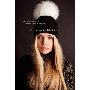 White fox bobble hat - Shadow fox pompom beanie - White fur bobble beanie