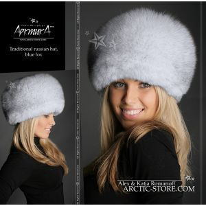 Blue fox hat - russian white fur shapka