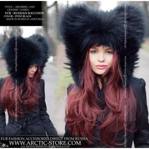 Squirrel fur hat - black raccoon hood - arctic-store
