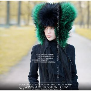 Designer's fur hat - black red fur hat