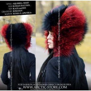 Designer's fur hat - black red fur hat