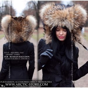 Squirrel fur hat - russian raccoon hood - arctic-store