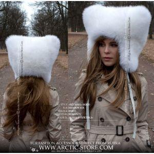 original designer's white fox fur hat for women