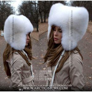 shadow white fox fur hat