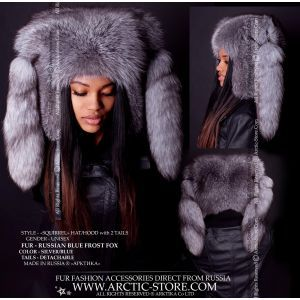 Fox fur hood - Blue frost hat - arctic-store