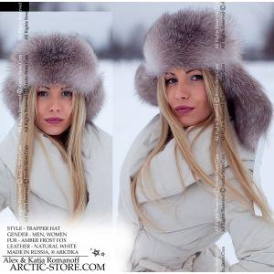 Trapper ushanka fur hat, amber frost fox, arctic store Russia