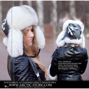 Camo winter fur hat - blue fox fur ushanka