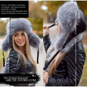 Trapper russian ushanka fur leather hat, silver/grey fox, light toning