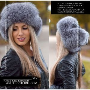 Trapper russian ushanka fur leather hat, silver/grey fox, light toning