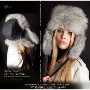 Fox fur hat - denim ushanka / arctic-store