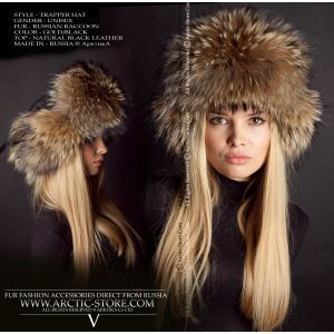 Trapper fur hat - russian raccoon / arctic-store