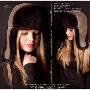 Sheepskin hat, Black/Cold Grey