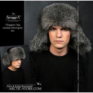 Ushanka grey fox - silver fur hat / arctic-store
