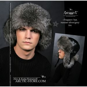 Trapper fur hat - silver grey fox / arctic-store