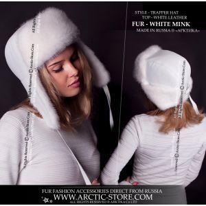 Trapper women's hat - white mink ushanka / arctic-store