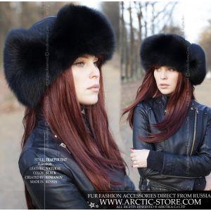 Trapper russian ushanka fur hat in black fox