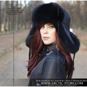 Trapper russian ushanka fur hat in black fox