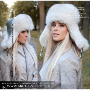 blue fox hat - silver leather winter hat