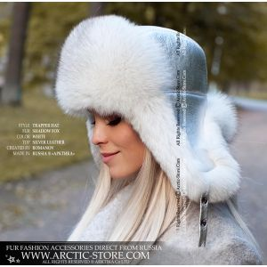 Polar winter fur hat - Silver leather fur fox ushanka