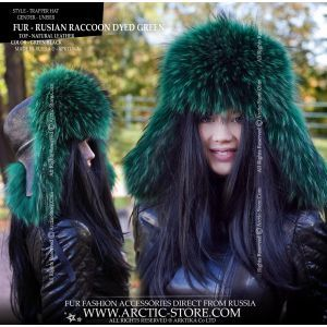 emerald fur hat - green raccoon ushanka
