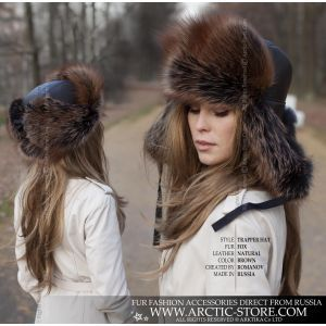 trapper fur hat - brown fox fur shapka