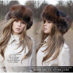 trapper fur hat - brown fox fur shapka