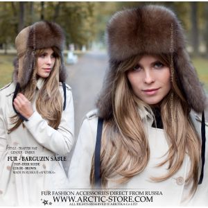 Sable fur hat - barguzin ushanka deer suede - trapper luxury hat