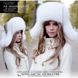 White winter fur hat - Gold leather fur fox ushanka