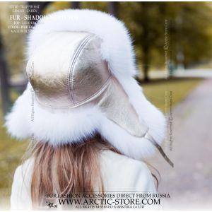 golden leather white fur hat - shadow fox ushanka