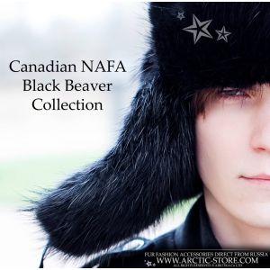 Men's beaver hat - black fur ushanka / arctic-store