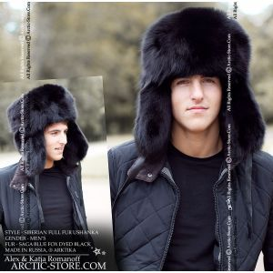 Siberian full fur ushanka in black fox arktika arctic-store russian men