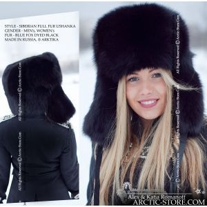 Siberian full fur hat shapka ushanka in black fox arktika arctic-store russian women