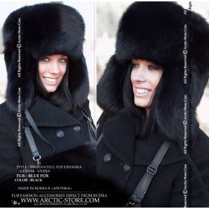 black fox women's ushanka fur hat
